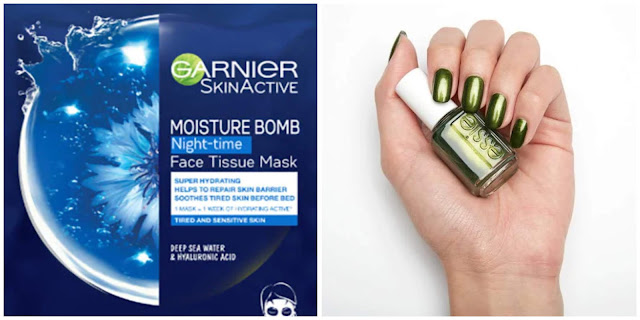 garnier moisture bomb mask, essie sweater weather nail polish