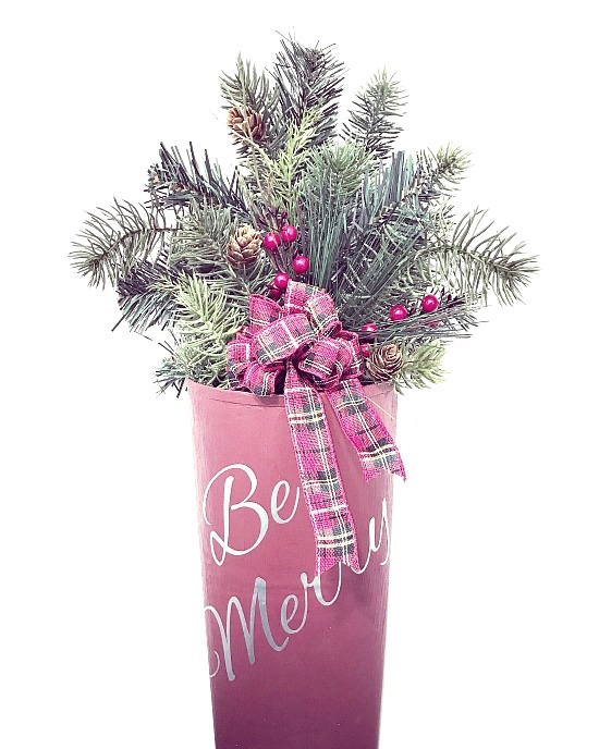 Be Merry repurposed wall pocket with holiday greens and a plaid bow