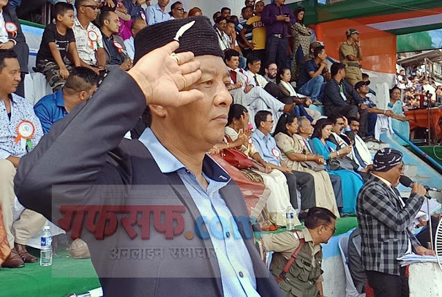 Binay Tamang Gorkhaland Territorial Administration BOA Chief at Independence Day Kalimpong 2018
