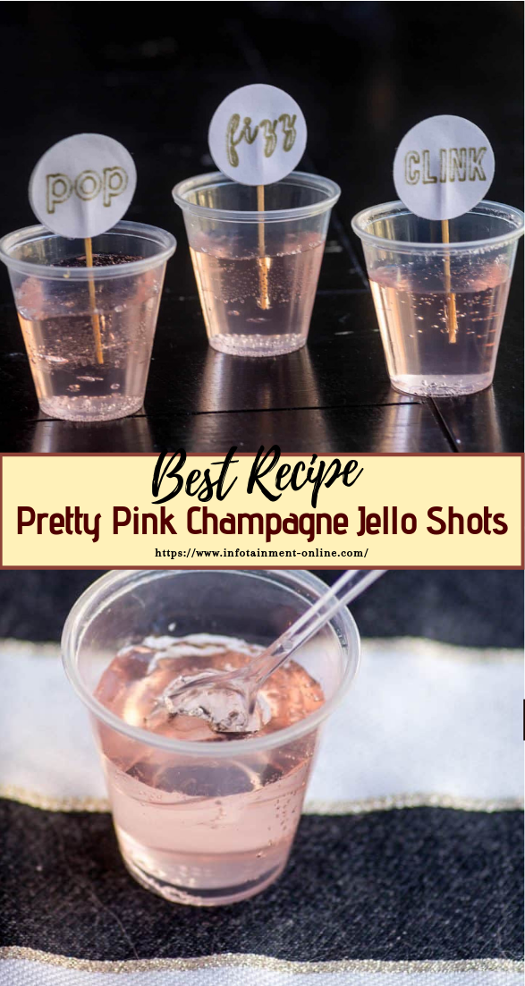 Pretty Pink Champagne Jello Shots  #healthydrink #easyrecipe #cocktail #smoothie