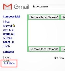 tombol untuk edit label Gmail