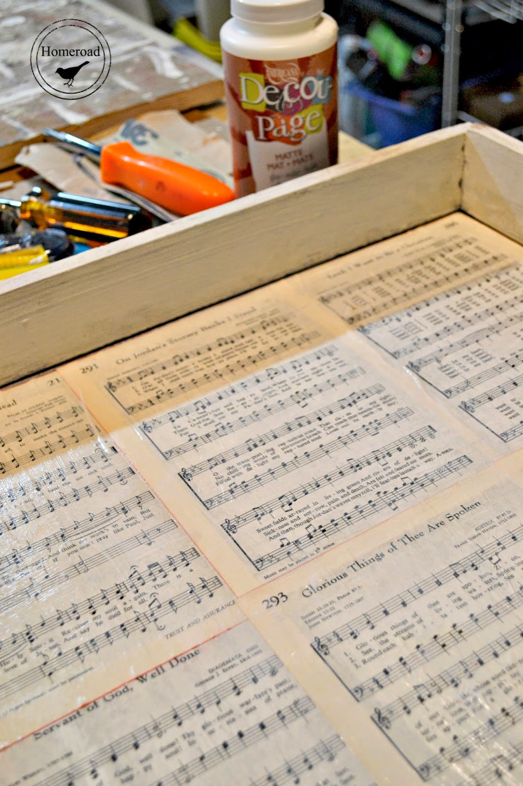 Table Drawer with a Hymnal Page Liner www.homeroad.net