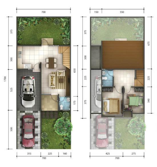 Denah rumah minimalis ukuran 7x17 meter 2 kamar tidur 2 lantai