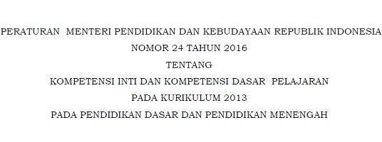Permendikbud Nomor 24 Tahun 2016, Peraturan Tentang KI/KD Pelajaran Kurikulum 2013 Pada Pendidikan Dasar dan Menengah
