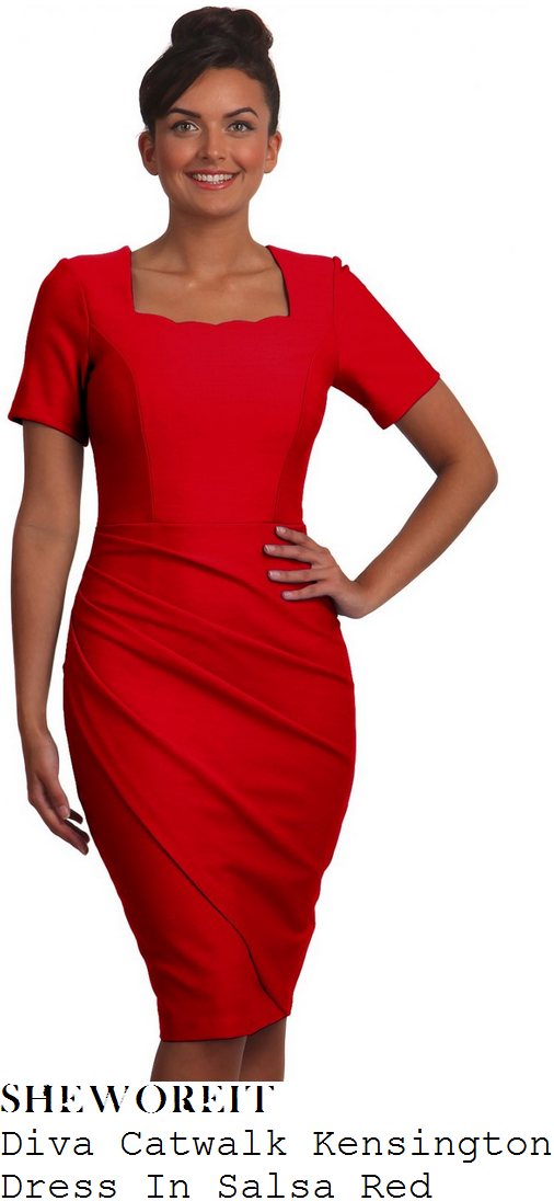 susanna-reid-bright-red-short-sleeve-scallop-square-neckline-pleat-fold-detail-pencil-dress-good-morning-britain