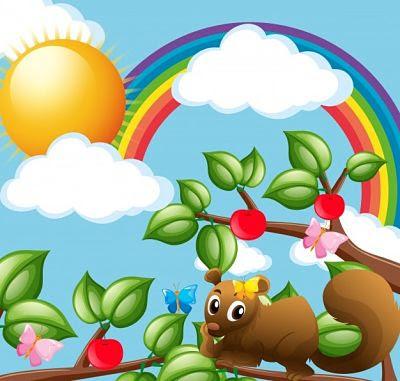 Ardilla y felicidad en el árbol y sus frutos