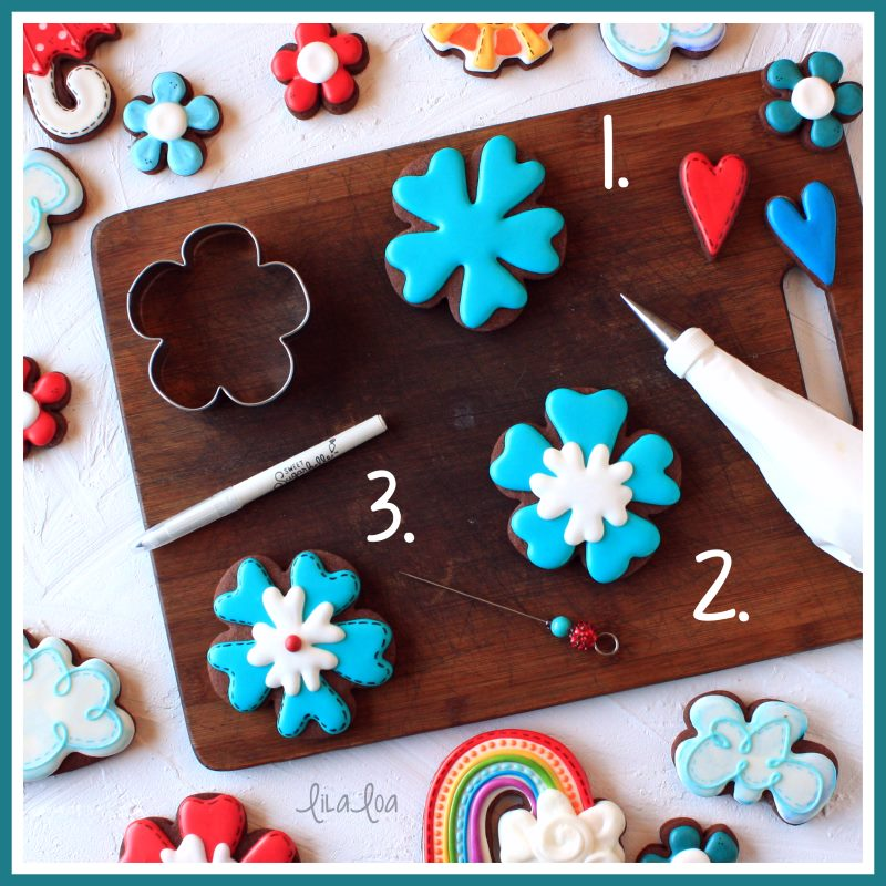 step by step tropical flower cookie decorating tutorial
