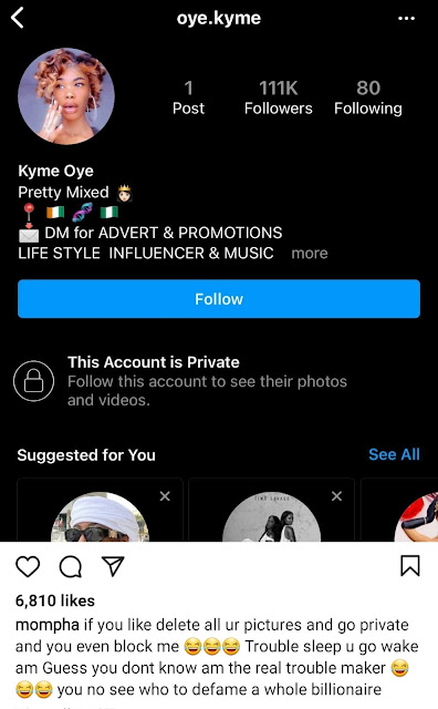 Bobrisky's former PA, Oye, reacts as Mompha threatens to sue her for claimning he and the crossdresser dated