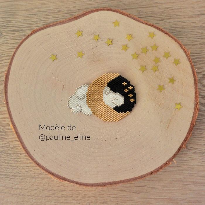 Lune et nuage en Miyuki de Pauline Eline tissés en peyote par Hello c'est Marine