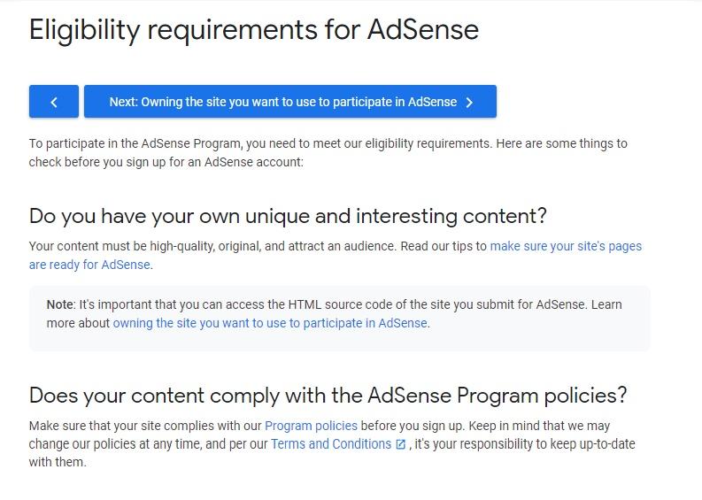 Apply for Adsense