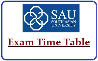 South Asian University Exam Date Sheet 2020