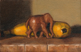 Oil painting of a small carved wooden elephant in front of a banana.
