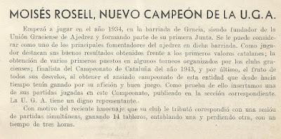 Moisés Rosell en el Boletín de la Federación Catalana