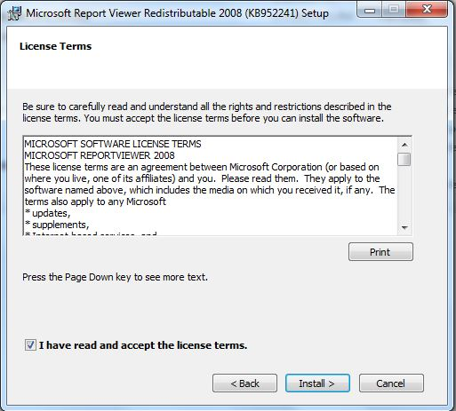 install Microsoft Report Viewer Redistributable 2008  1