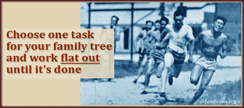 Sprint to the finish, keeping your focus on ONE genealogy task.