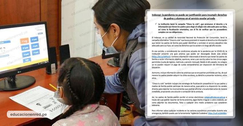 INDECOPI advierte que colegios privados solo pueden hacer tres cobros: Cuota de ingreso, Matrícula y Pensión mensual