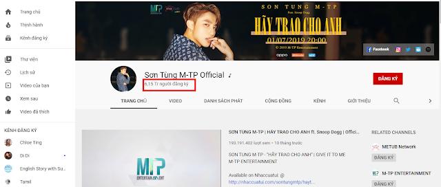 Youtube trả tiền cho Sơn Tùng MTP Channel