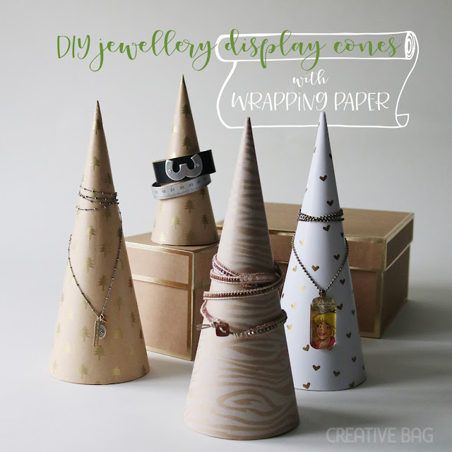 DIY jewellery display cones using wrapping paper | Creative Bag