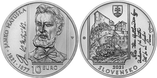 Slovakia 10 euro 2021 - Janko Matúška