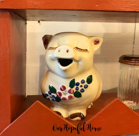 vintage porcelain pig pitcher