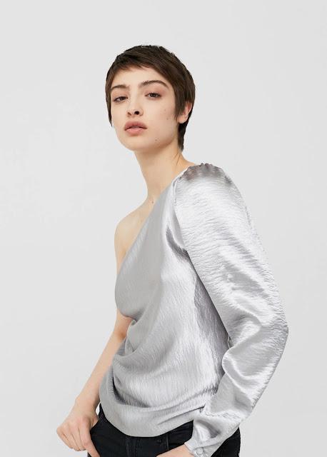 Blusa asimmetrica metallizzata argento con monospalla - Mango Outlet