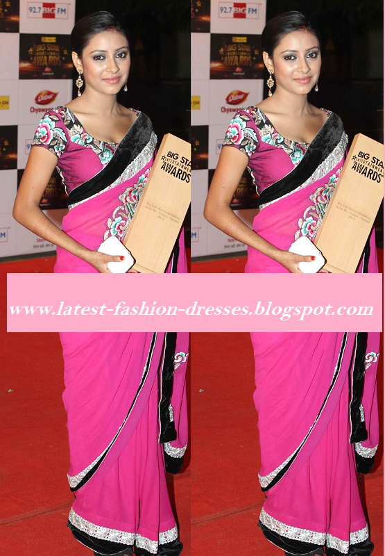 bollywood rani pink saree with velvet border