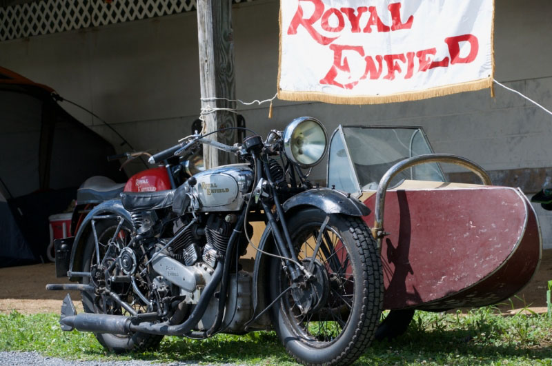 Royal Enfield motorcycle under Royal Enfield banner.