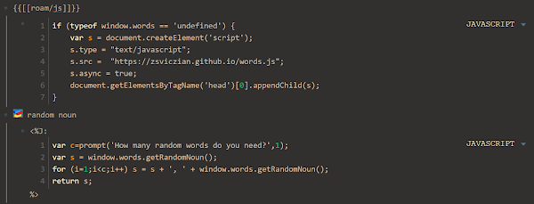 Screenshot of SmartBlock and roam/js script