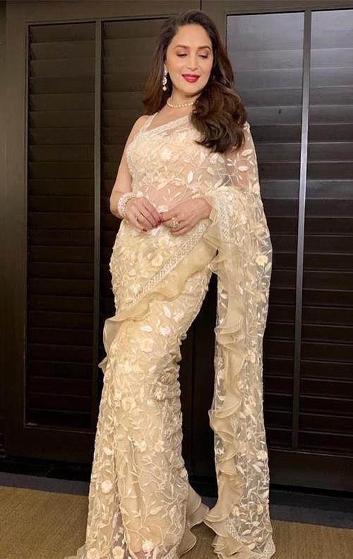 madhuri dixit in see through sheer saree bollywood mature actress over 40