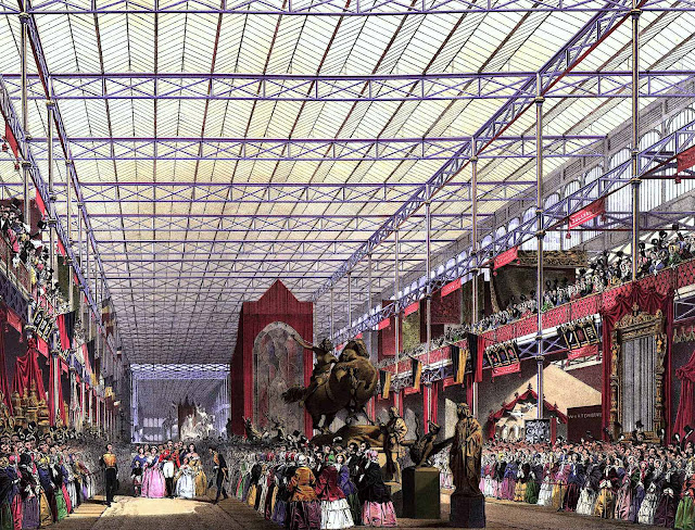 1851 Great Exhibition London Crystal Palace illuminating roof, a colour illustration
