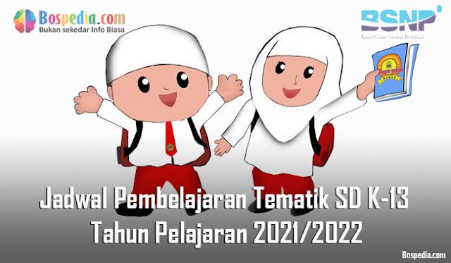 Jadwal Pembelajaran Tematik SD Kelas 1, 2, 3, 4, 5, 6 K-13 Tahun Pelajaran 2021/2022