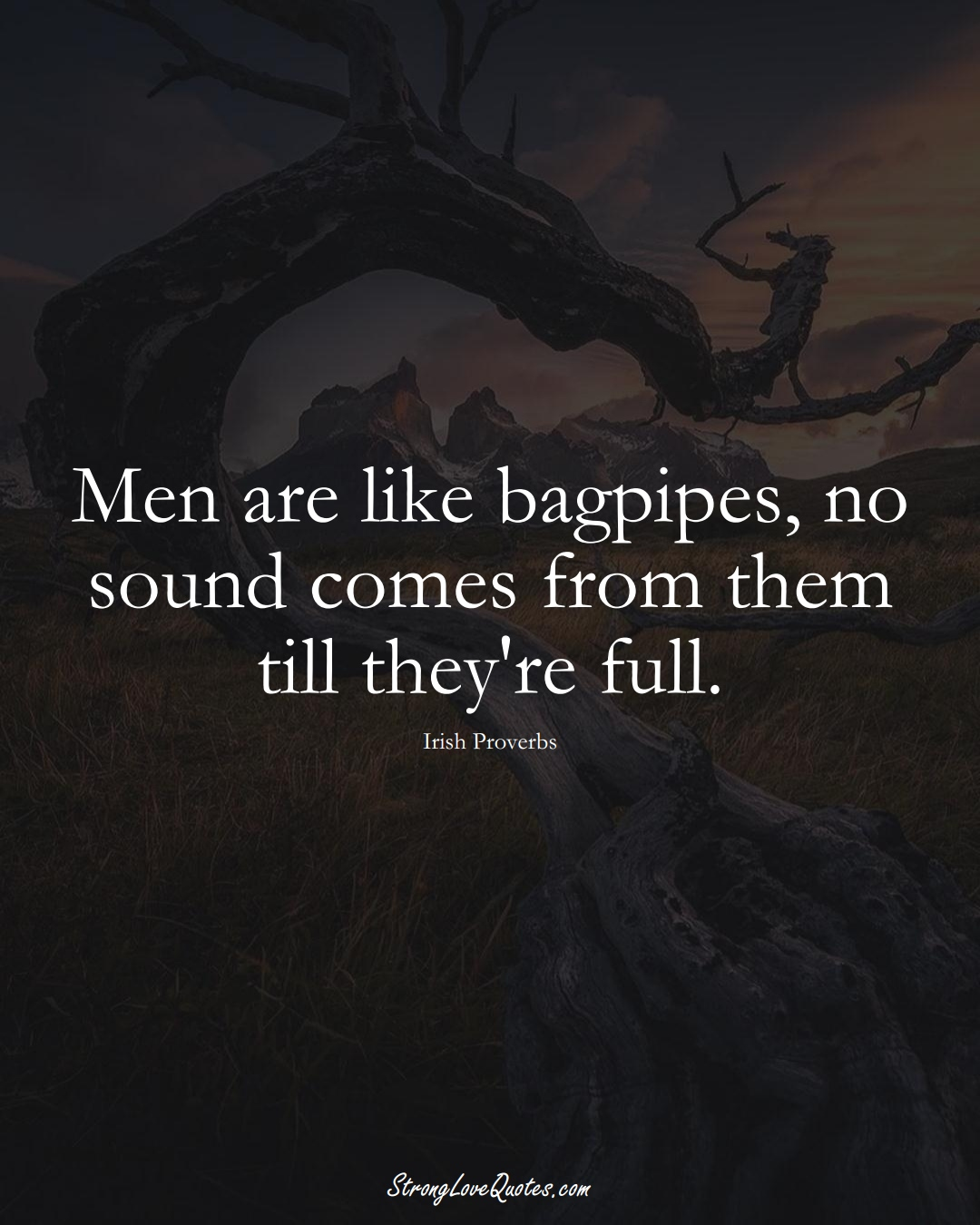 Men are like bagpipes, no sound comes from them till they're full. (Irish Sayings);  #EuropeanSayings