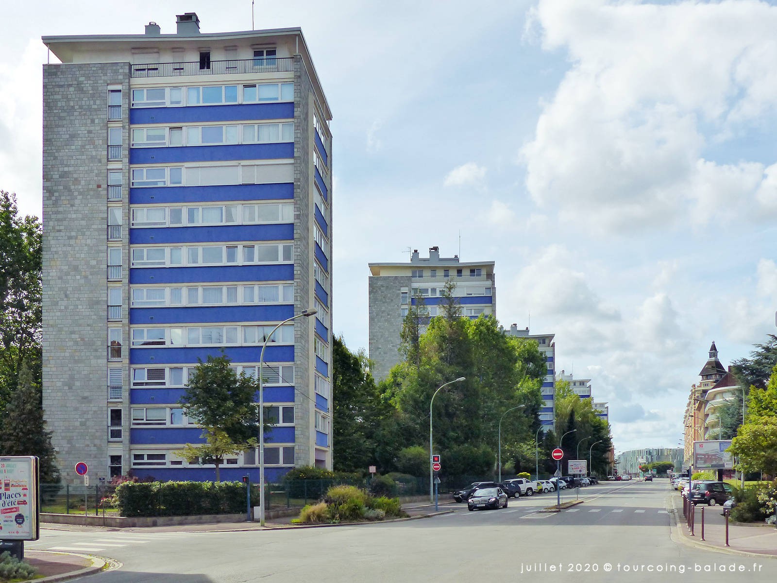 Les 5 tours en enfilade de l'avenue Gustave Dron, Tourcoing 2020
