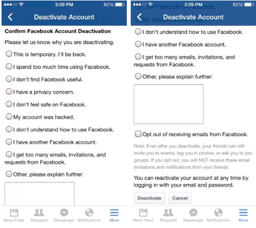 How to delete facebook from mobile youll then be required to a short study on why youre deleting your facebook account when youre done with that faucet on deactivate to end up the ccuart