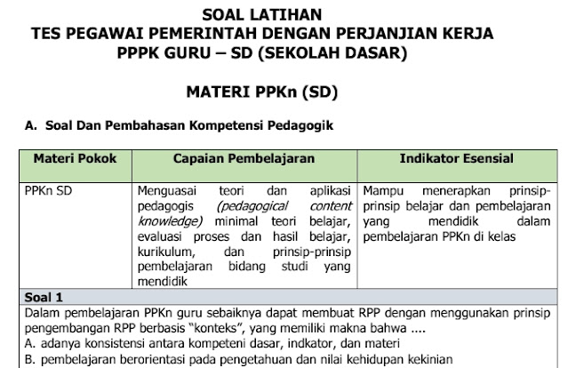 Soal Tes Latihan Seleksi Guru PPPK PPKn Untuk SD