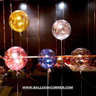 Kombinasi Balon PVC Transparan Warna + Glitter