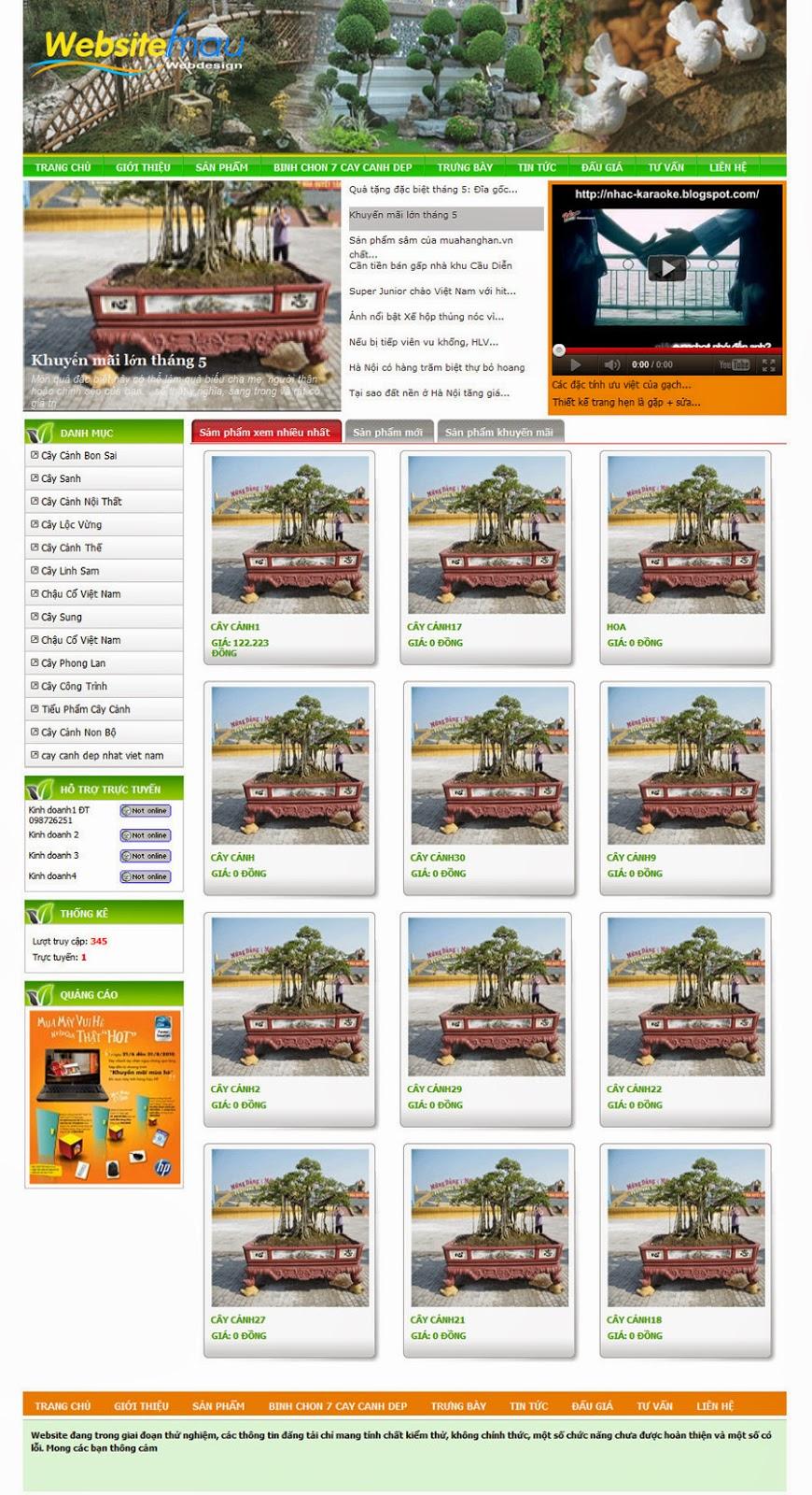 thiết kế website cây cảnh đẹp