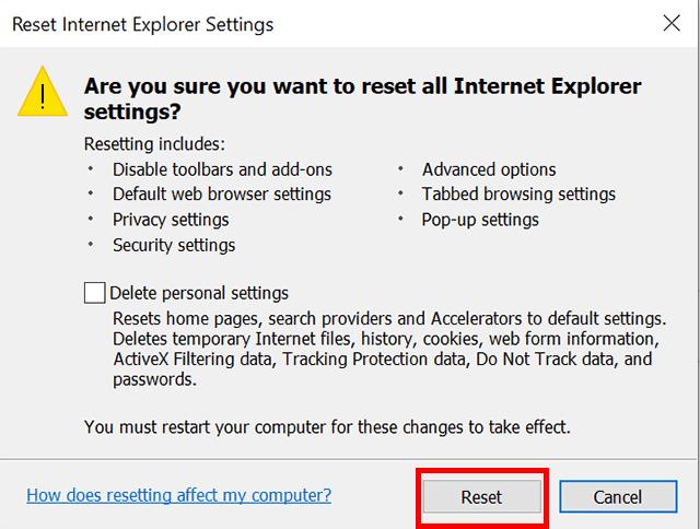 cara reset internet explorer konfirmasi