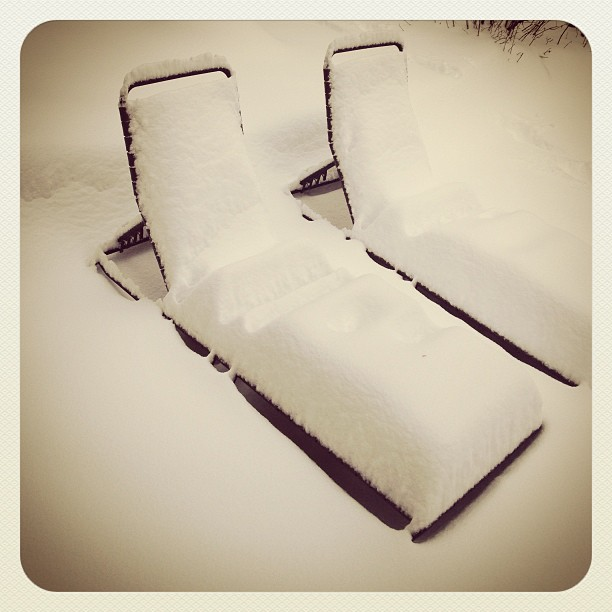 snow on our lounge chairs