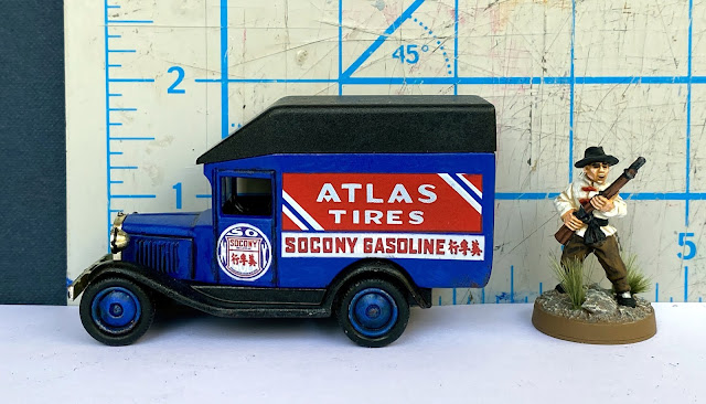 Lledo DG56 Ford 1930 Model A Raised-Roof Van, Socony Motor Gasoline, Shanghai, China, 28mm WW2 Bolt Action Wargaming