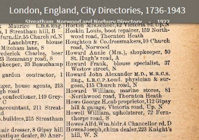 1922 Streatham directory - residents - Frank Howard, blouse specialist at Westow Street