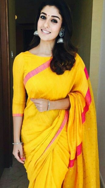Nayanthara wearing silk saree with puffed sleeves