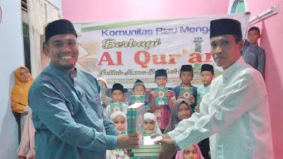Bentuk Komitmen Komunitas Riau Mengaji menjalankan misi, Ustadz Busri: Penyaluran Al Qur'an ini, harus senantiasa kita lakukan