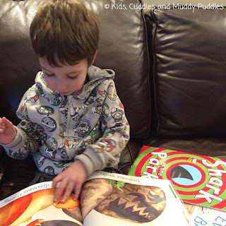 Young boy reading Dinosaur Roar! on the sofa.