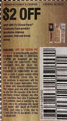 loreal face 2 off coupon