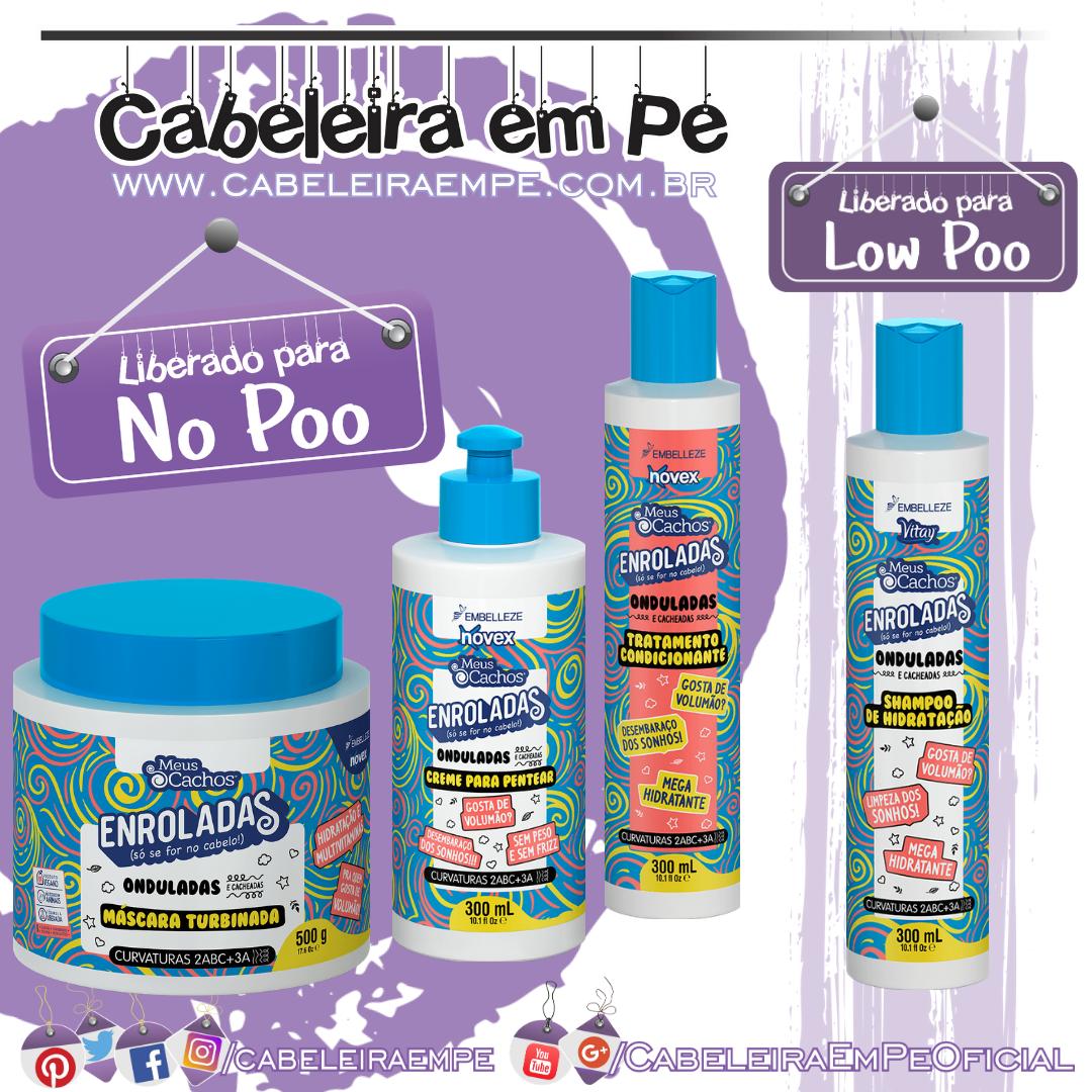 Shampoo (Low Poo), Condicionador, Máscara e Creme para Pentear (Liberados para No Poo) Enroladas Onduladas - Novex Meus Cachos