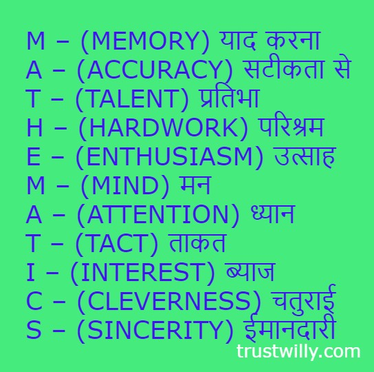 Full form of mathematics In Hindi