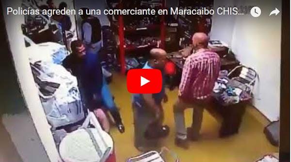 CICPC grabado al momento de agredir a una mujer y un menor en Maracaibo