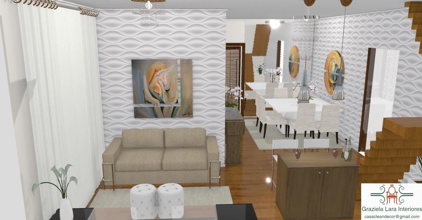 Construindo minha casa clean salas estar e jantar for Decorar casas online 3d