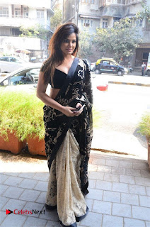 Actress Neetu Chandra Stills in Black Saree at Designer Sandhya Singh's Store Launch  0030.jpg